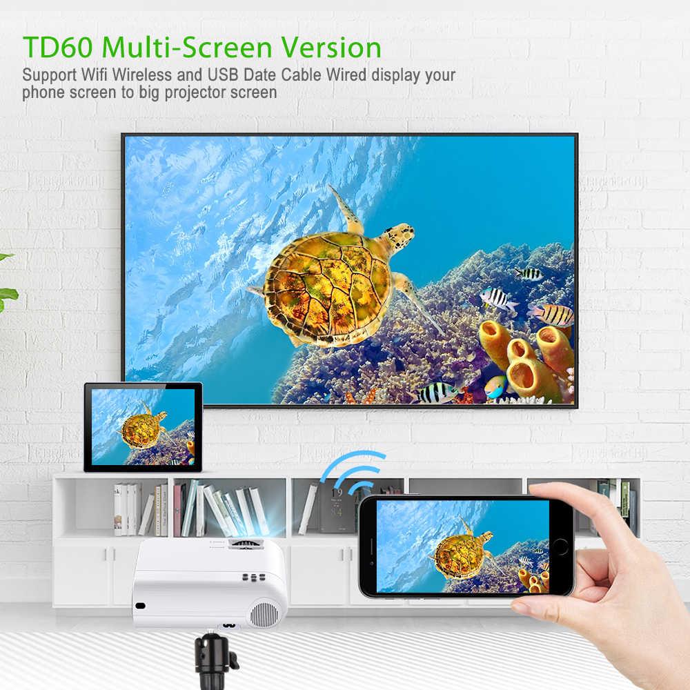 ThundeaL TD60 Mini Proyector portátil WiFi Android 6,0 cine en casa para 1080P Video Proyector 2400 lúmenes teléfono Video 3D Beamer La pantalla grande Altavoces  30000 horas de vida  Compatible con AC3