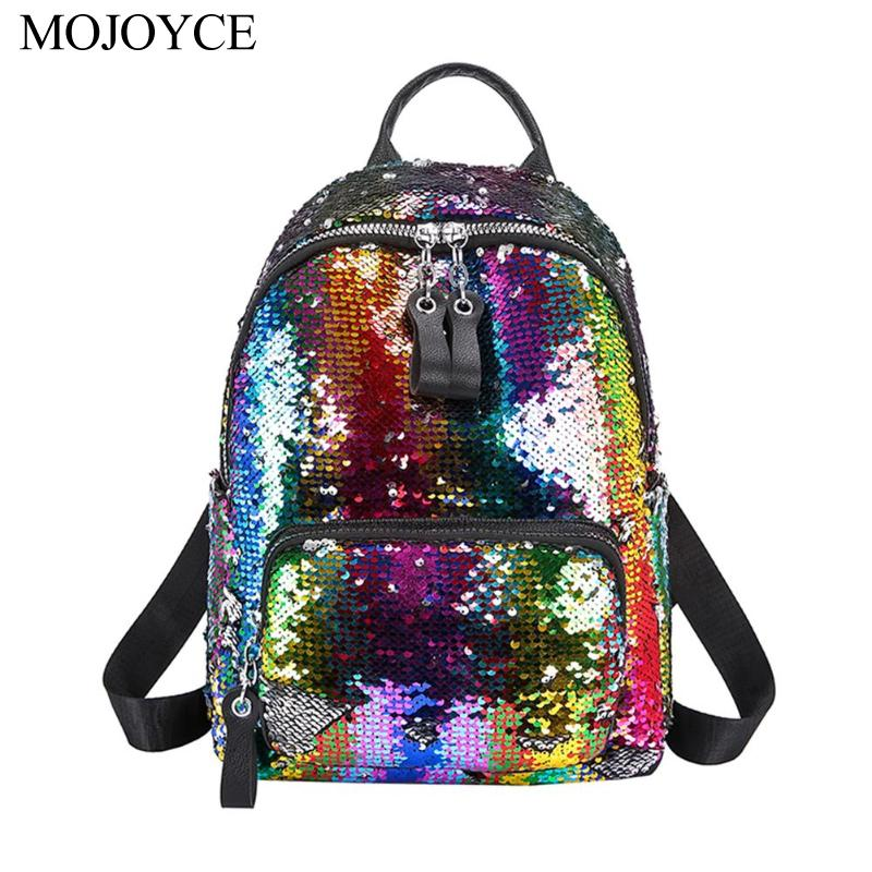 2019 Fashion Glitter Women Sequins Backpack High Quality Travel Shoulder Bags Shiny School Bags Teenage Girls New Rucksack
