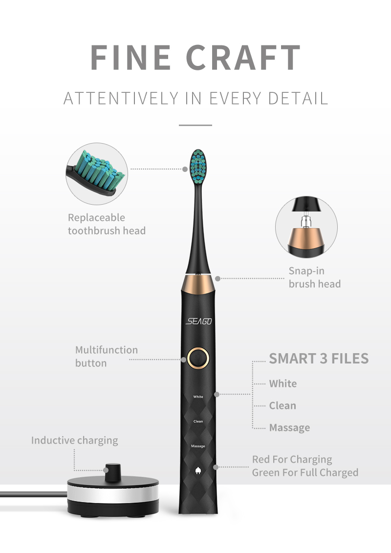 SEAGO Sonic Electric Toothbrush Upgraded Adult Rechargeable Wireless Waterproof Automatic Toothbrush with 3 Brush Heads Gift