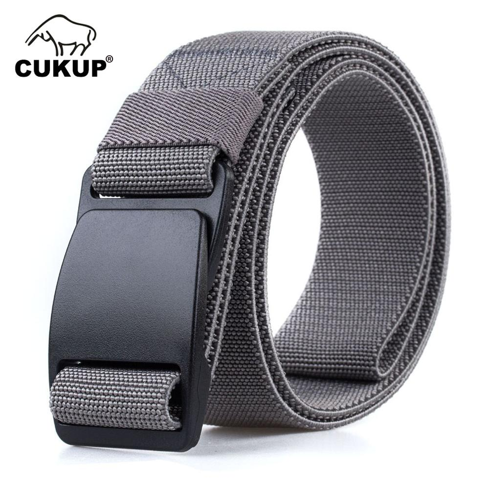 Image 2 - CUKUP Mens Brand Unisex Design Quality Hard Plastic Buckle Belt Man Quality Canvas Elastic Waistband Casual Belts Men CBCK120Mens Belts   -