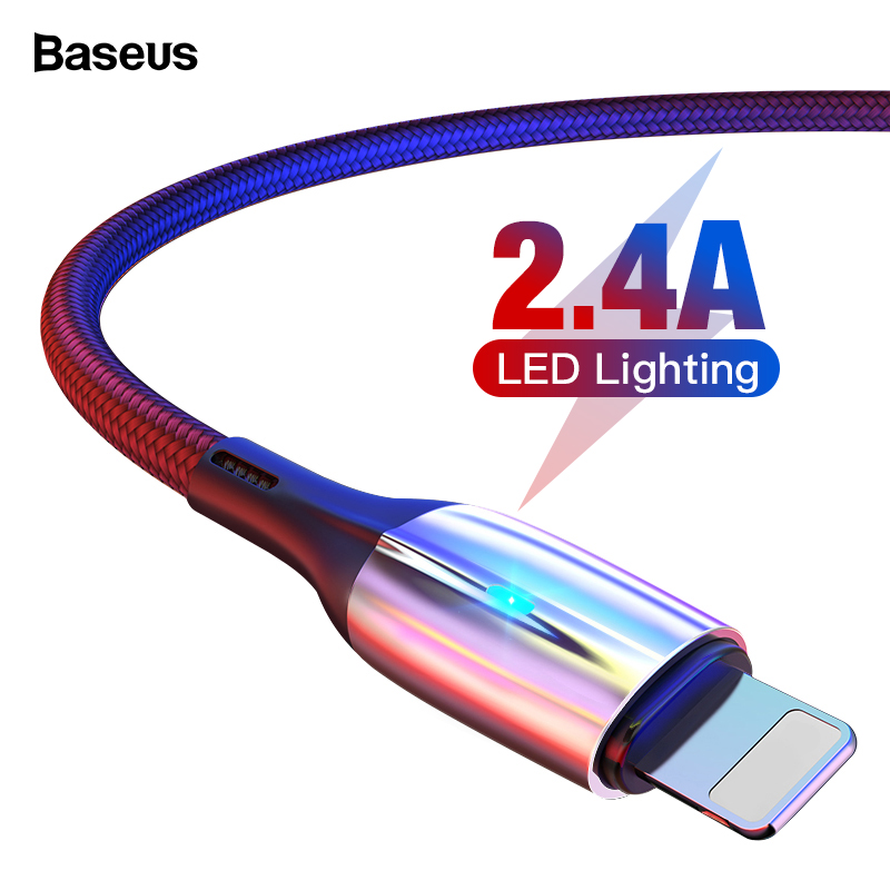 Baseus Lighting USB Cable For iPhone Xs Max Xr X S 2.4A Fast Charging Data Cable For iPhone 8 7 6 iPad Mobile Phone Charger Cord|Mobile Phone Cables| |  - AliExpress