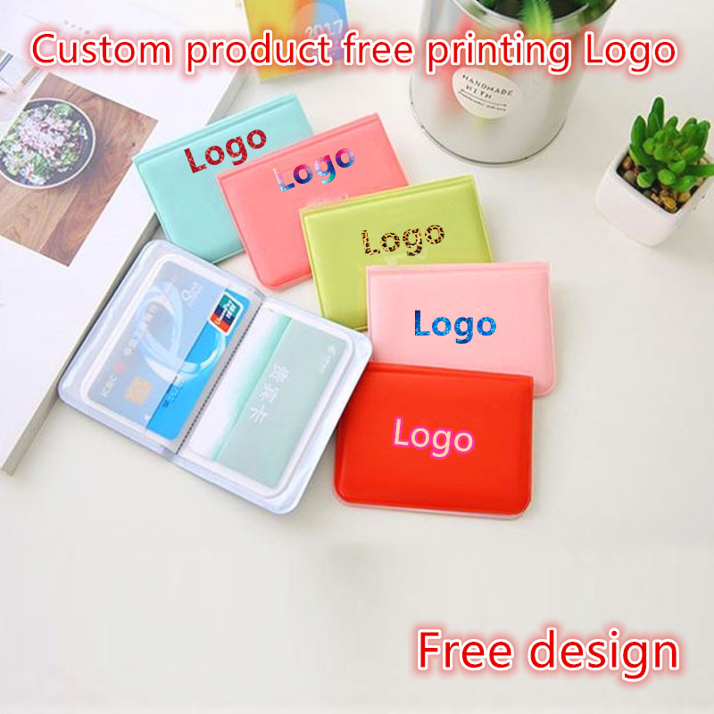 100pcs Customize Products Free Print Logo ID Credit Card Wallet Creative Vintage Cash Holder Organizer Case Box Wallet Business