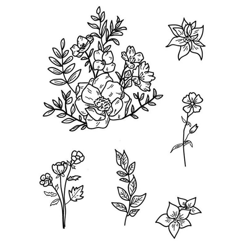 Flower Clear Stamps 2019 Bunch Leaves Rubber Transparent Silicone Seal for DIY Scrapbooking Photo Album Decorative Stamp Crafts