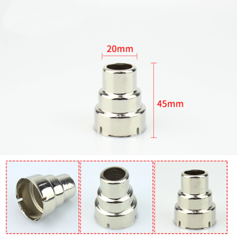 New Metallic Iron Round 34mm Tuyeres To 20mm Nozzle For SAIKE ATTEN HAKKO YIHUA Handheld Hot Air Gun
