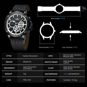 Image 5 - relogio masculino MEGALITH sport waterproof watch men top brand luxury luminous chronograph watches for men leather strap clock