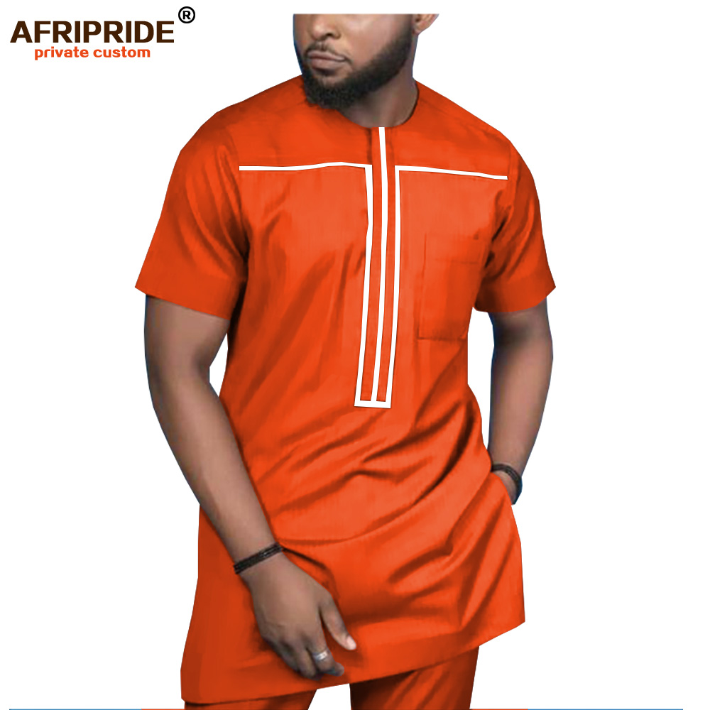 2019 African Clothing for Men Tracksuit Dashiki Shirts and Print Pants Traditional Set Outfits Wear Sweatsuit AFRIPRIDE A1916051