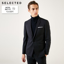 SELECTED Men's Slim Fit Sheep Wool 다크 패턴 블레이저 자켓 T | 41915Y501(China)
