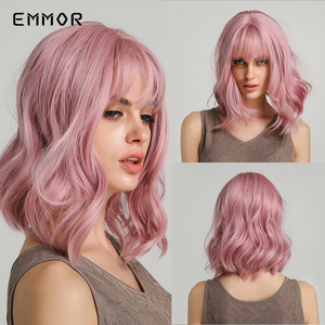 """EMMOR 14"""" Synthetic Hair Pink Colors Short Water Wave Wigs For White/Black Women Heat Resistant Fiber Daily Full False Hair(China)"""