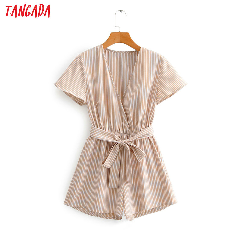 Tangada Fashion Women Striped Print Summer Playsuit Short Sleeve With Slash Female Sexy Beach Playsuit 1F121