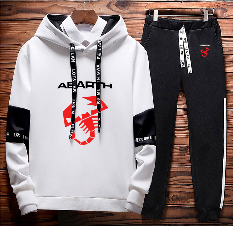 Hoodies Men Abarth Car Logo Printed Unisex Sweatshirt Fashion Men Hoodie Hip Hop Harajuku Casual Fleece Hoodies Pants Suit 2Pcs