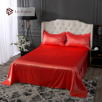 Liv Esthete Luxury 100% Silk Wedding Flat Sheet Silky Pillowcase Queen King Bed Sheets Healthy Sleep Bed Linen Christmas Gift