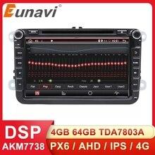 Eunavi 8 2 דין אנדרואיד dvd לרכב רדיו עבור פולקסווגן פולקסווגן פולו ג טה פאסאט b6 b7 cc פאביה טוראן גולף 6 Tiguan rns510 GPS DSP BT