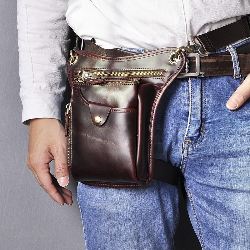 Genuine Quality Leather Men Design Casual Messenger Crossbody Sling Bag Fashion Waist Belt Pack Leg Drop Bag Phone Pouch 211-5-w