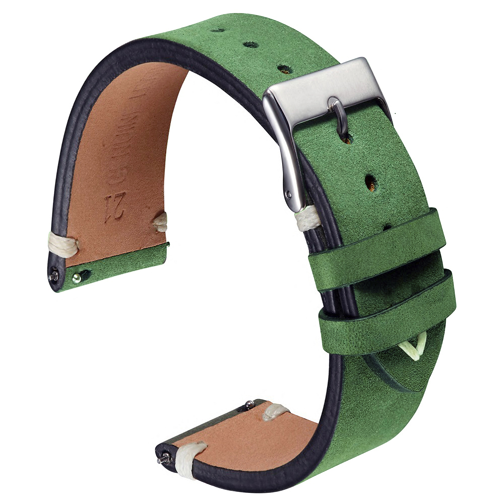 Matte Leather Watch Band Strap 20mm 21mm Green Dark-brown Seude Leather Watch Straps Soft Handmade Wrist bands For Watch