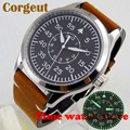 Хит продаж  мужские часы Corgeut  42 мм  Miyota 8215  5 АТМ  Роскошные  полированные  автоматические  наручные  светящиеся  черный циферблат  кожаный рем...