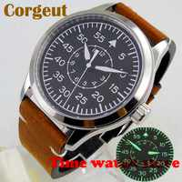 Hot Corgeut 42mm Miyota 8215 5ATM Luxury Polished automatic wrist watch men Luminous black dial leather strap waterproof