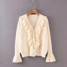 ZA autumn winter Warm tops loose knitted Ruffled Pearl Button Cardigan sweater women vintage casual pull woman clothes(China)