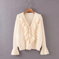 ZA autumn winter Warm tops loose knitted Ruffled Pearl Button Cardigan sweater women vintage casual pull woman clothes