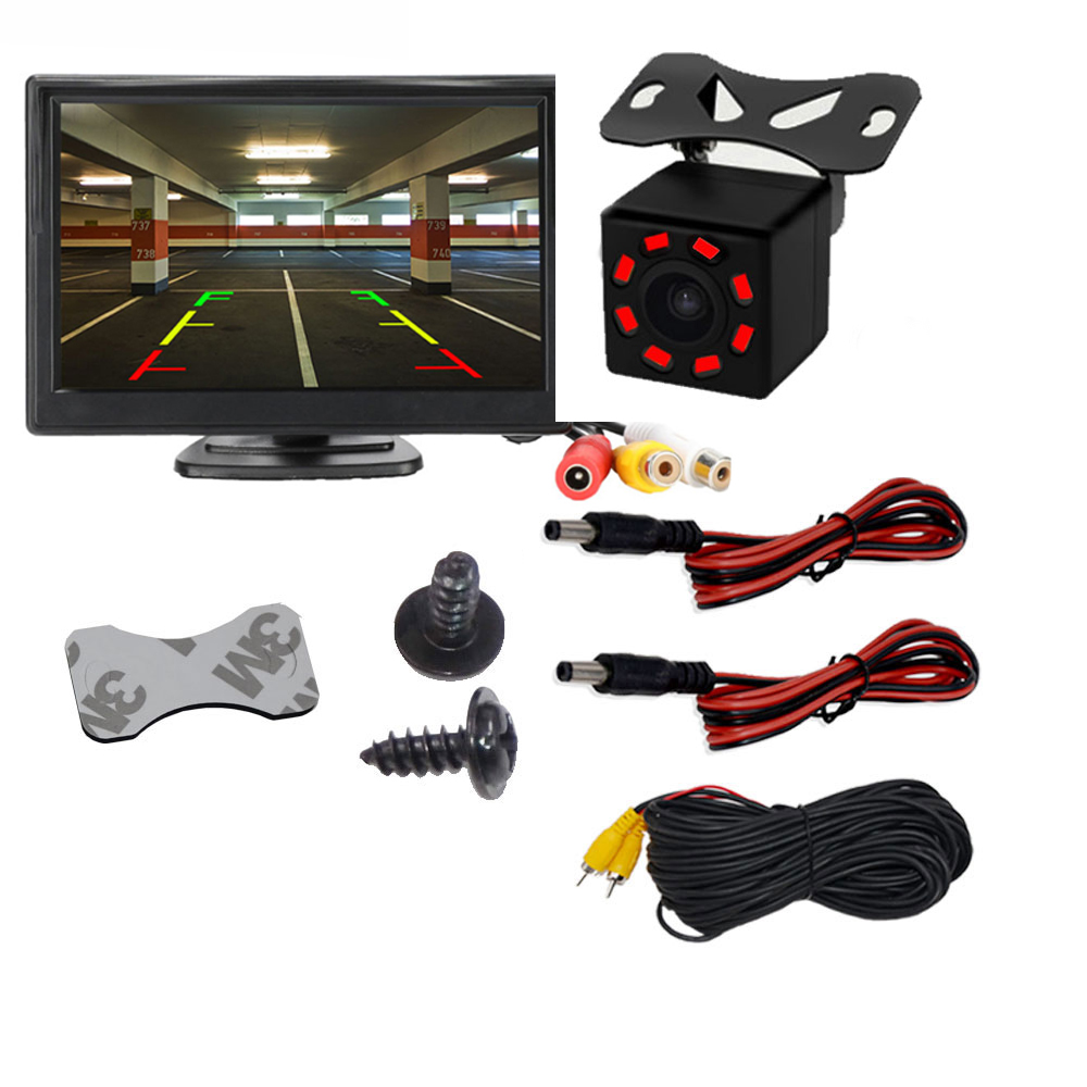 Car Rear View Camera Reversing Parking System Kit 5inch inch TFT LCD Rearview Monitor Waterproof Night Vision Backup Camera