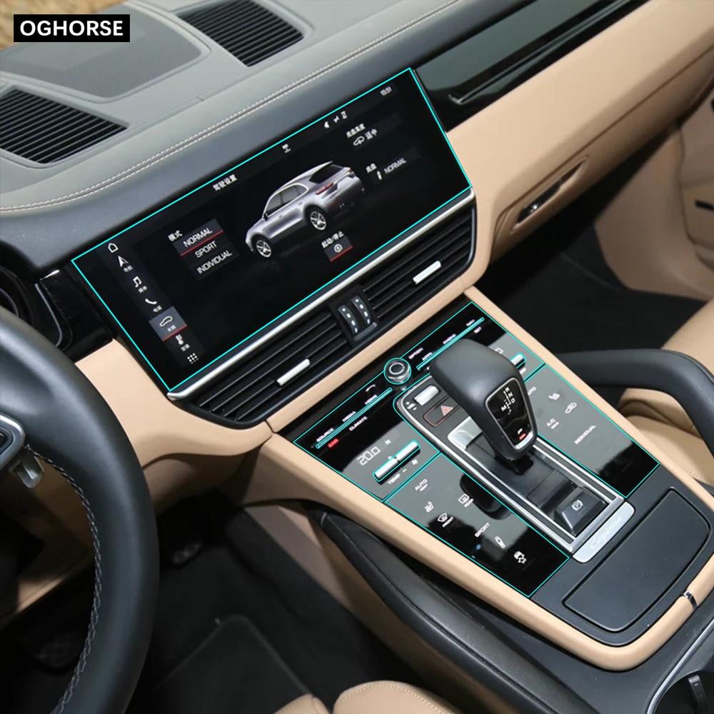 Self Healing TPU Sticker Car Interior Console Gear Panel Screen Protective Film For Porsche Cayenne 2018 2019 2020 Accessories