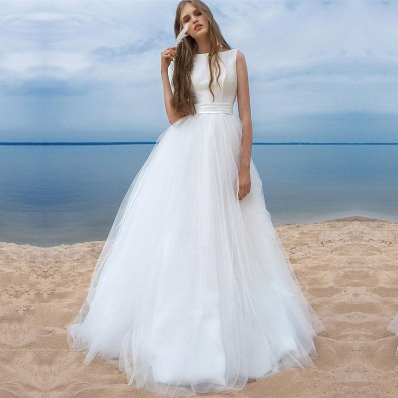 Eightale Beach Wedding Dresses O-Neck Simple White Tulle Sashes Bow Boho Bridal Dress Arabic Wedding Gowns vestido novia satin