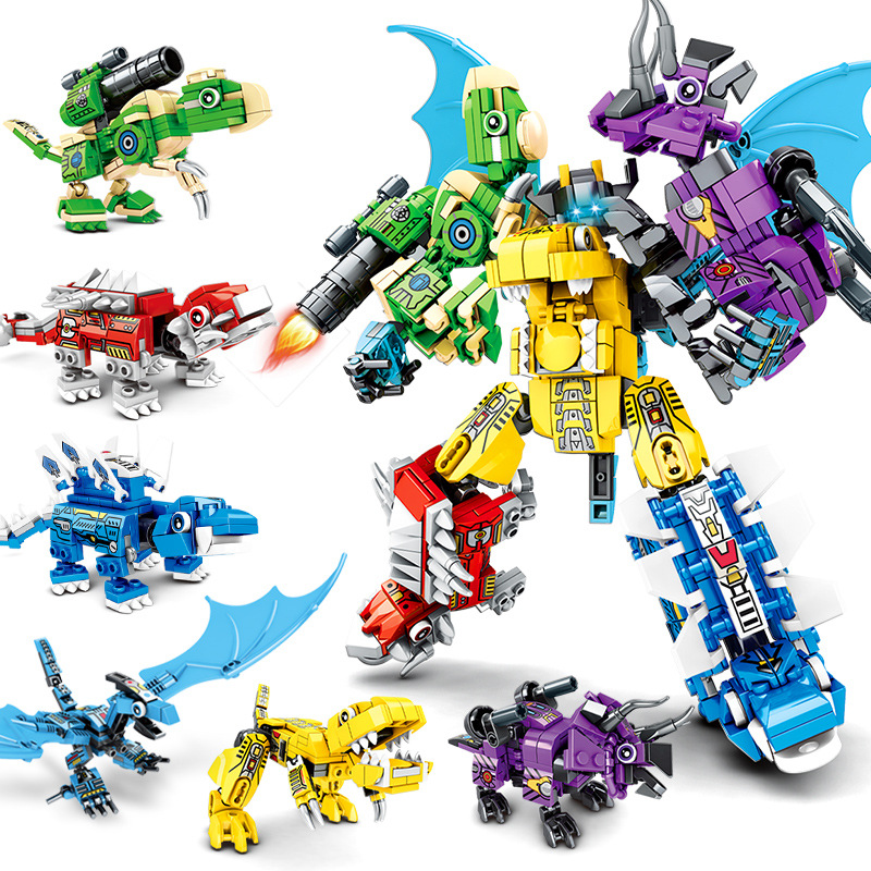 Toys Transformation Robot Mech Series 6-in-1 Transformation Steel Dragon Knight Dinosaur Creative Assembled Building Block Toy