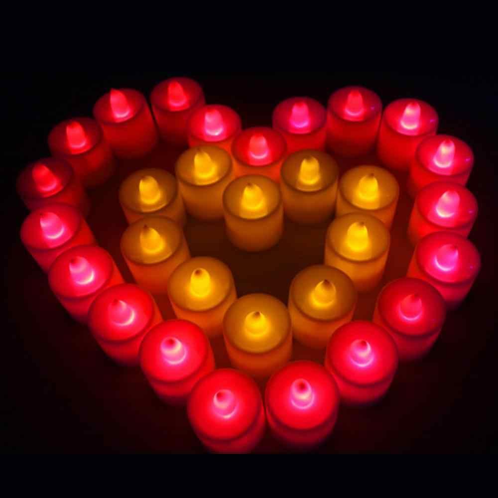 1Pcs אדום לבן מהבהב LED מזויף נר תה אורות מיני חשמלי Flameless נר סימולציה בית שולחן חתונת קישוט