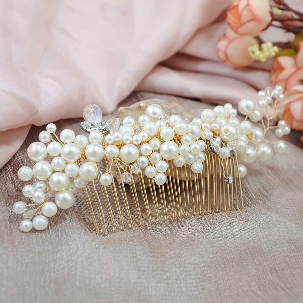 TOPQUEEN HP41 الزفاف تيارا أمشاط الزفاف أغطية الرأس الزفاف إكسسوارات الشعر قبعة الزفاف الزفاف مشط الشعر