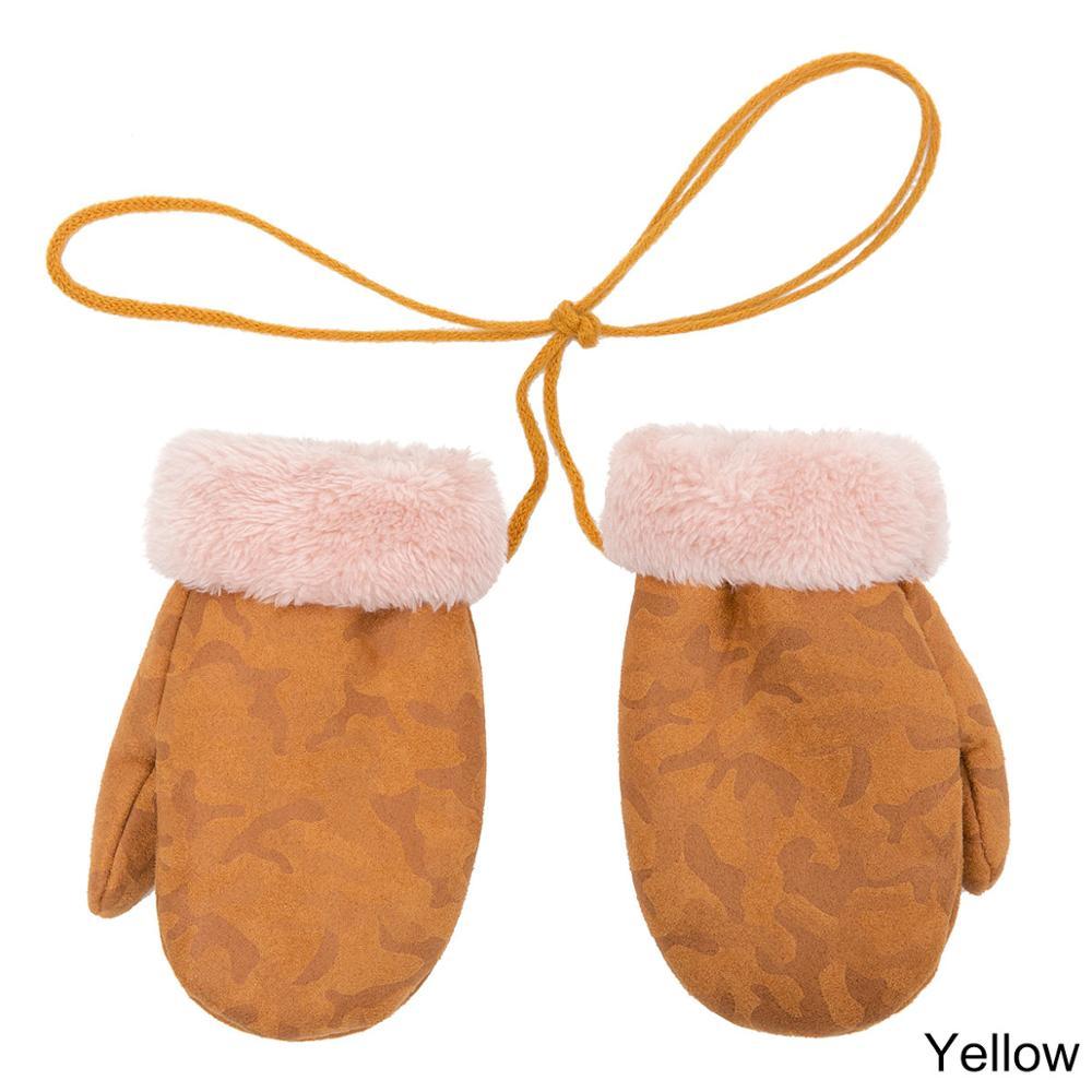 TRUENJOY, модные зимние перчатки для мальчиков и девочек, теплые, с веревкой, с полными пальцами, варежки, перчатки для детей, плюс бархатные зимние перчатки для детей - Цвет: C