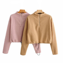 Autumn Women Pullover Sweatshirt Full Sleeve Knitted Solid O-Neck Lamb Casual Slim Long Sleeve Coat Lace up Wool Zipper Outwear stylish scoop neck long sleeve zipper design women s sweatshirt