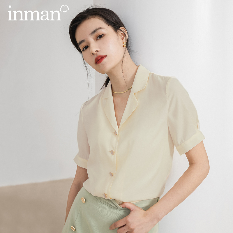 INMAN Office Style Artsy 2020 Summer New Arrival Turn Down Collar Elegant Blouse