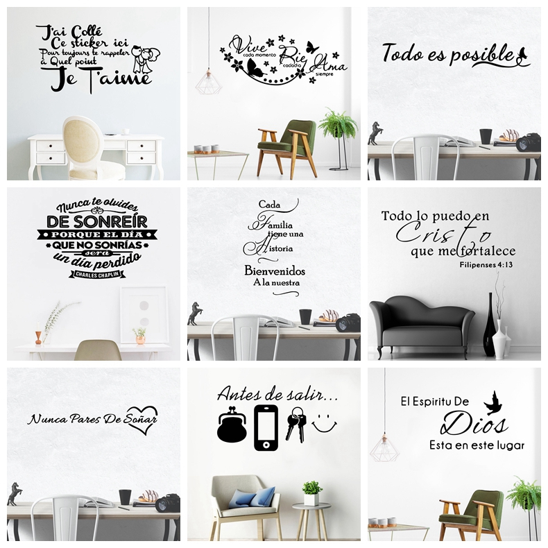 Spanish French Quotes Sentences Removable Vinyl Wall Decals France Spain Wallpaper Wall Art For Living Room Bedroom Decoration