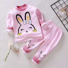 Розовые пижамы для девочек возрастом от 1 года до 4 лет зимнее теплое бархатное платье с утолщением, комплект термобелья с рисунком для маленьких мальчиков, одежда для сна, пижама