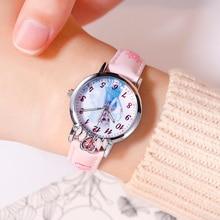 DISNEY Frozen ELSA Princess Cartoon Original Girl Quartz Wrist Watch Pink Blue Purple Waterproof Children Student New Gift Clock