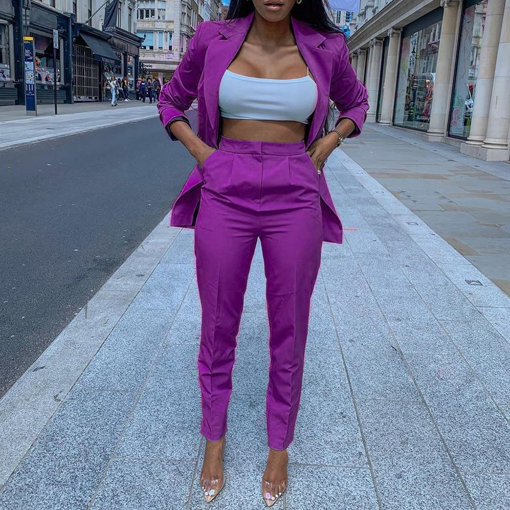 Two Piece Sets Causal Blazer Coat And Solid Pencil Suit Pants Office Ladies Elegant Women Sets Suits Retro Fashion 2 Pieces S-XL
