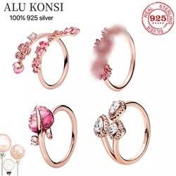 Подходит к оригиналу Элитная 925 серебристый кольцо для женщин «любящее сердце» с украшением в виде кристаллов на высоком, качественные футб...