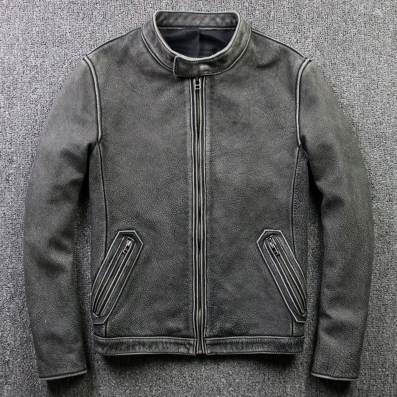 Geniune Leather Jacket Men Cow Leather Coat Blouson Moto Vintage Chaqueta Hombre Plus Size Jaqueta De Couro 805 MF109