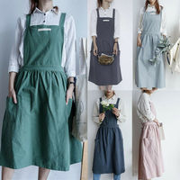 Women Cotton Linen Cross Back Apron Japanese Housework Baking Wrap Florist Dress