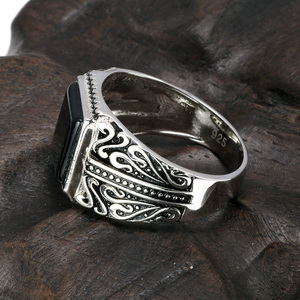 Image 4 - 925 Sterling Silver Rings Mens Rings Vintage Flower Engraved Black Green Red Natural Onyx Stone Square Shape Punk Turkey Jewelry