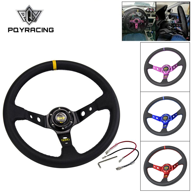 14inch 350MM OMP Steering Wheel PVC Leather Steering Wheel OMP Steering Wheels Deep Corn Dish Wholesale PQY SW22-in Steering Wheels & Steering Wheel Hubs from Automobiles & Motorcycles