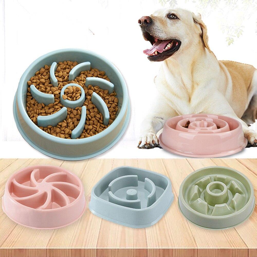 プラスチック抗窒息子犬猫食べる皿ボウルペット犬ボウル遅いフィーダー抗gulping食品プレート猫ペットフィーダー犬ボウル