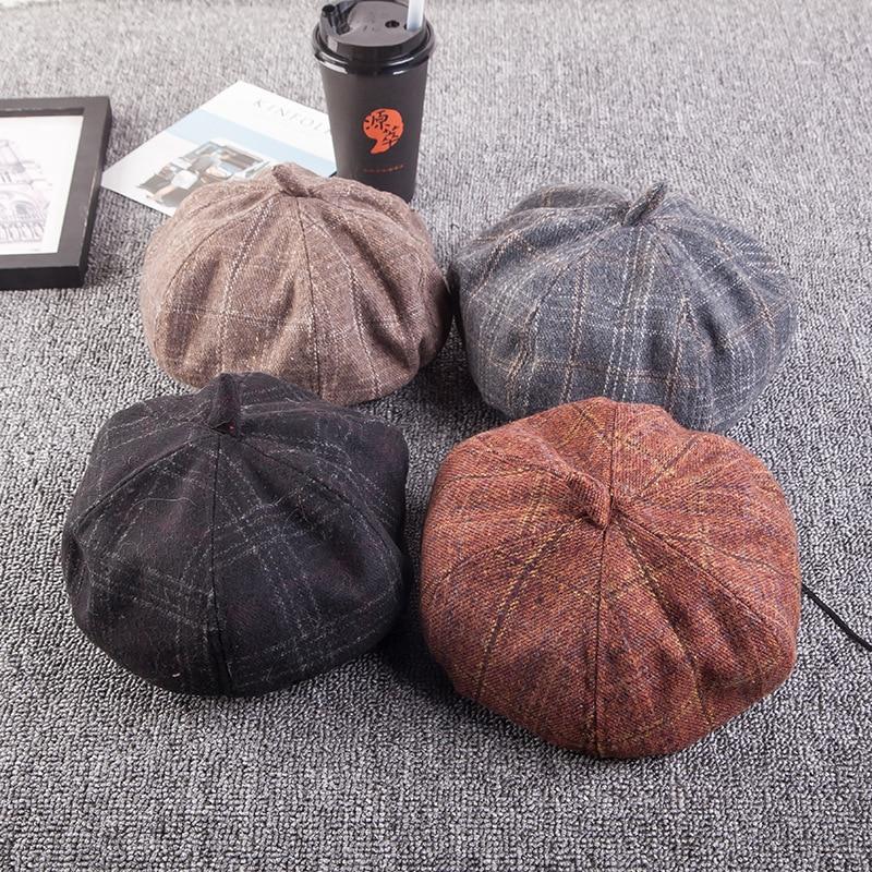 New Autumn Winter Hats For Women Plaid Octagonal Newsboy Cap Men Ladies Casual Wool Hat Beret Women Painter Cap Black Khaki Gray