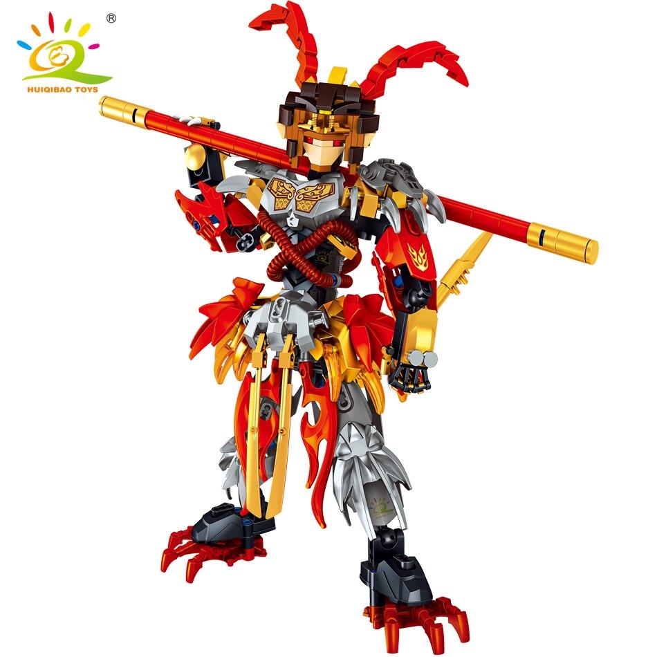 HUIQIBAO – blocs de construction de figurines roi singe guerrier Mech Sun Wukong Monkie Mecha, ensemble de 316 pièces, jouets pour enfants, cadeau