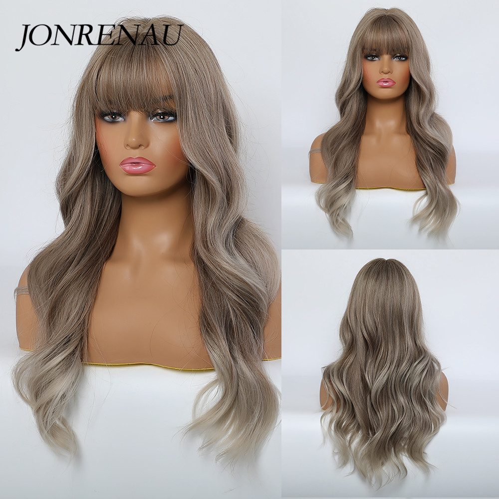 JONRENAU Synthetic Light Brown Color With Highlights Natural Long Wave Wigs With Neat Bangs For White/Black Women Everyday Wigs