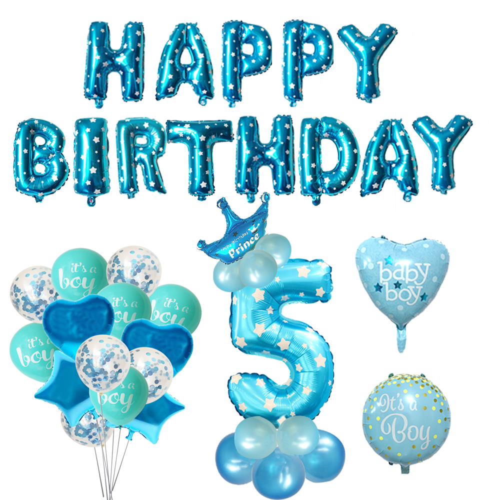 AGE 5 CHILDREN/'S BOYS BLUE age five 5TH  HAPPY BIRTHDAY PARTY  BANNER