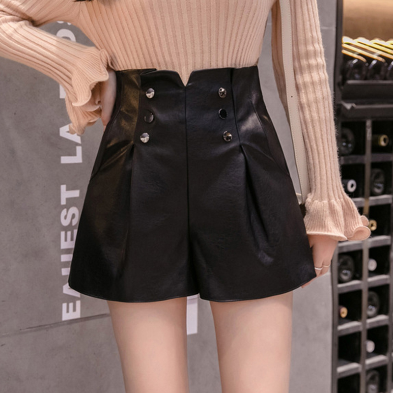 MIIRCEOR Women High Waist PU Leather Shorts Female Fashion Wide Leg Faux Leather Shorts High Quality Spring Loose PU Shorts