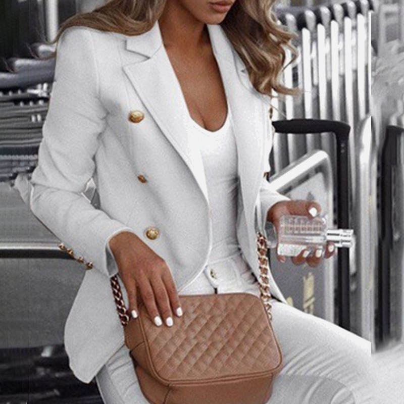 Autumn 2019 Plus Size 5XL Office Lady Women's Blazer Coat Notched Long Sleeve Blazers Female Spring Double Breasted Clothes