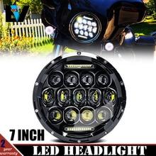 1pcs 75W 7 Inch Round Led Headlight Bulbs Running