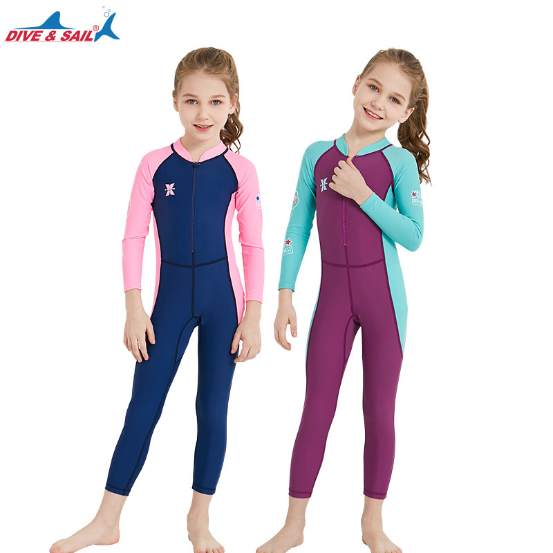 New Style KID'S Swimwear Little Girl One-piece Long Sleeve Sun-resistant Quick-Dry Diving Suit Men's Big Boy Swimming Suit Hot S