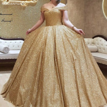 Ball-Gown Prom-Dresses Robe-De-Soiree Dubai Arabic Sequin Gold Evening Sexy Long Plus-Size
